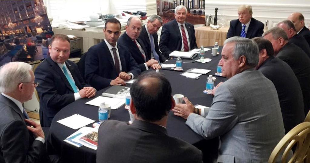 Image: George Papadopoulos, third from left, meets with then-presidential candidate Donald Trump
