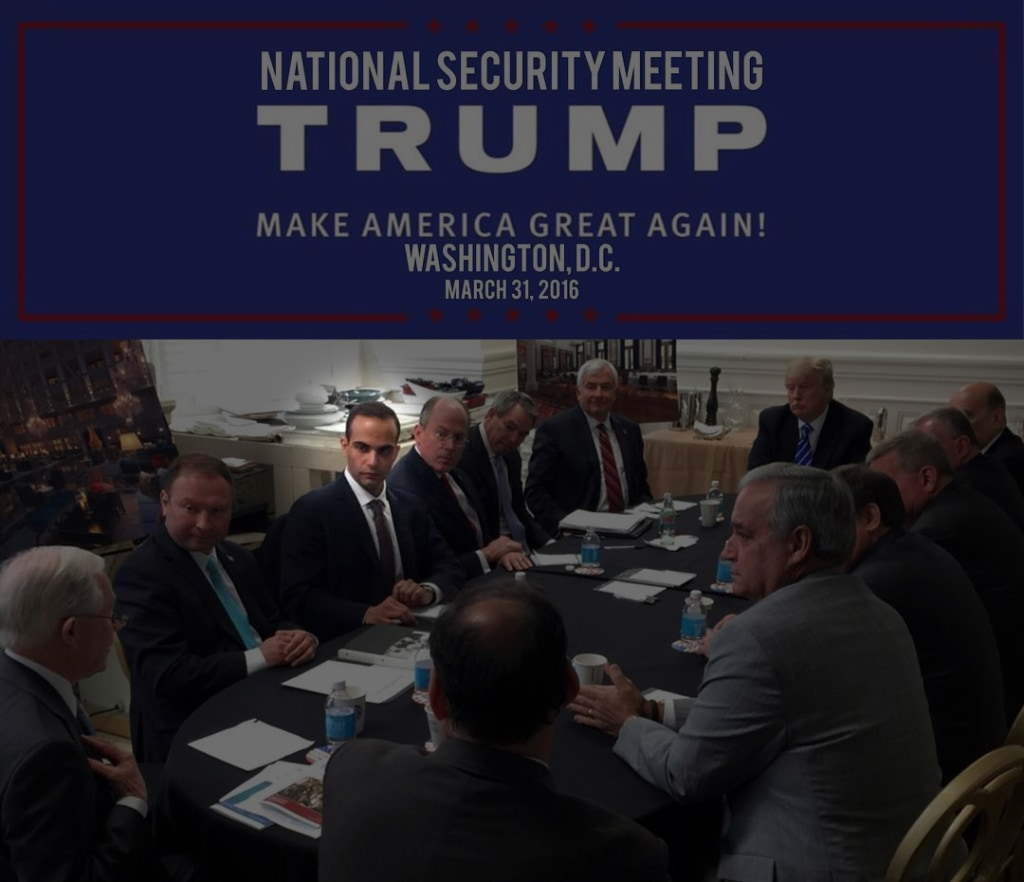 """Image: George Papadopoulos, third from left, meets with then-presidential candidate Donald Trump on March 31, 2016 at a """"National Security Meeting"""" in Washington."""