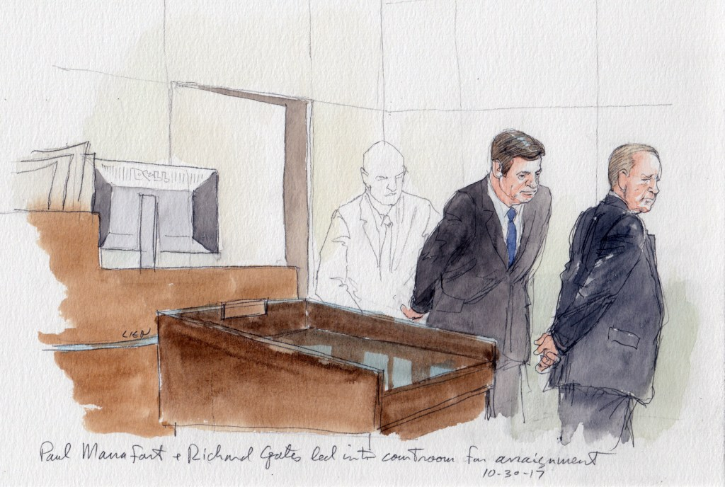 Image: A courtroom sketch of Paul Manafort, center, and Richard Gates, right, being led into the courtroom for arraignment in Washington