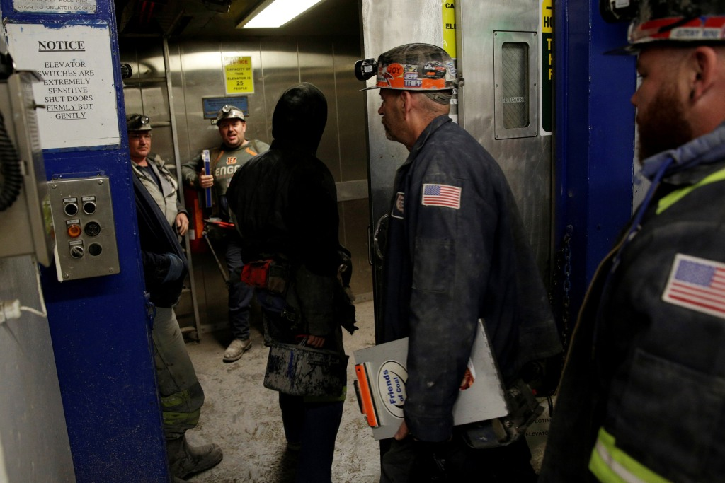 Image: Miners enter an elevator before descending the American Energy Corporation Century Mine at in Beallsville, Ohio