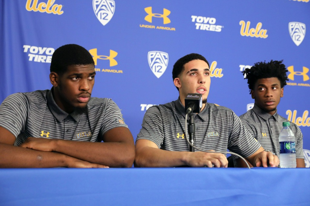 Image: UCLA basketball players Cody Riley, LiAngelo Ball and Jalen Hill speak at a press conference at UCLA after flying back from China, where they were detained on suspicion of shoplifting, in Los Angeles