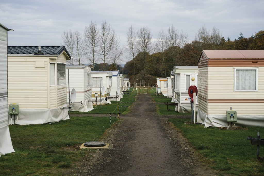 Image: Semi-permanent caravans which house seasonal workers at Oakdene Farm