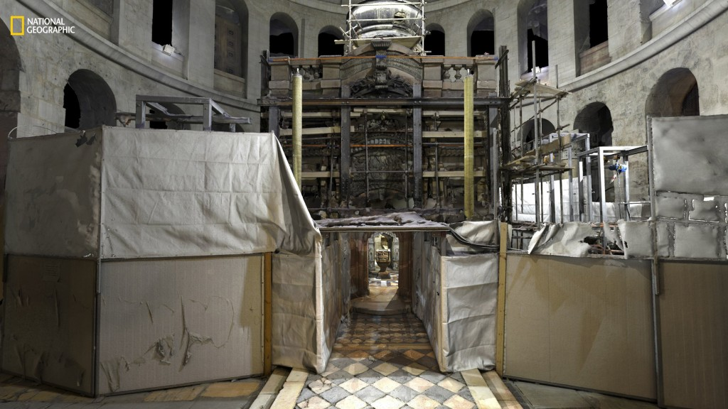 Image: Entrance of tomb during renovations.