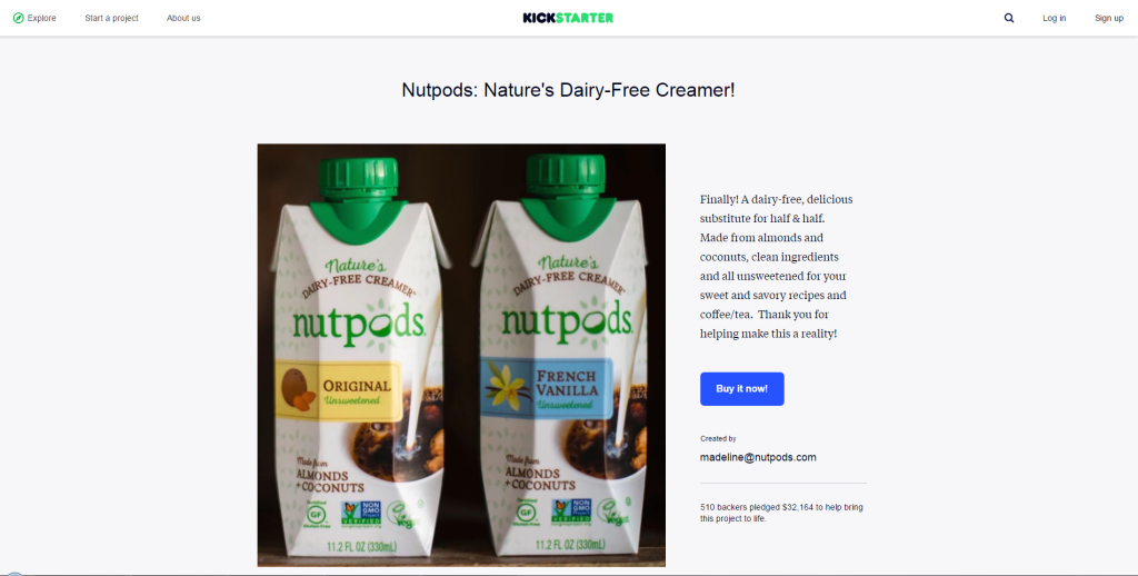 Nutpods non-dairy vegan almond coconut creamer