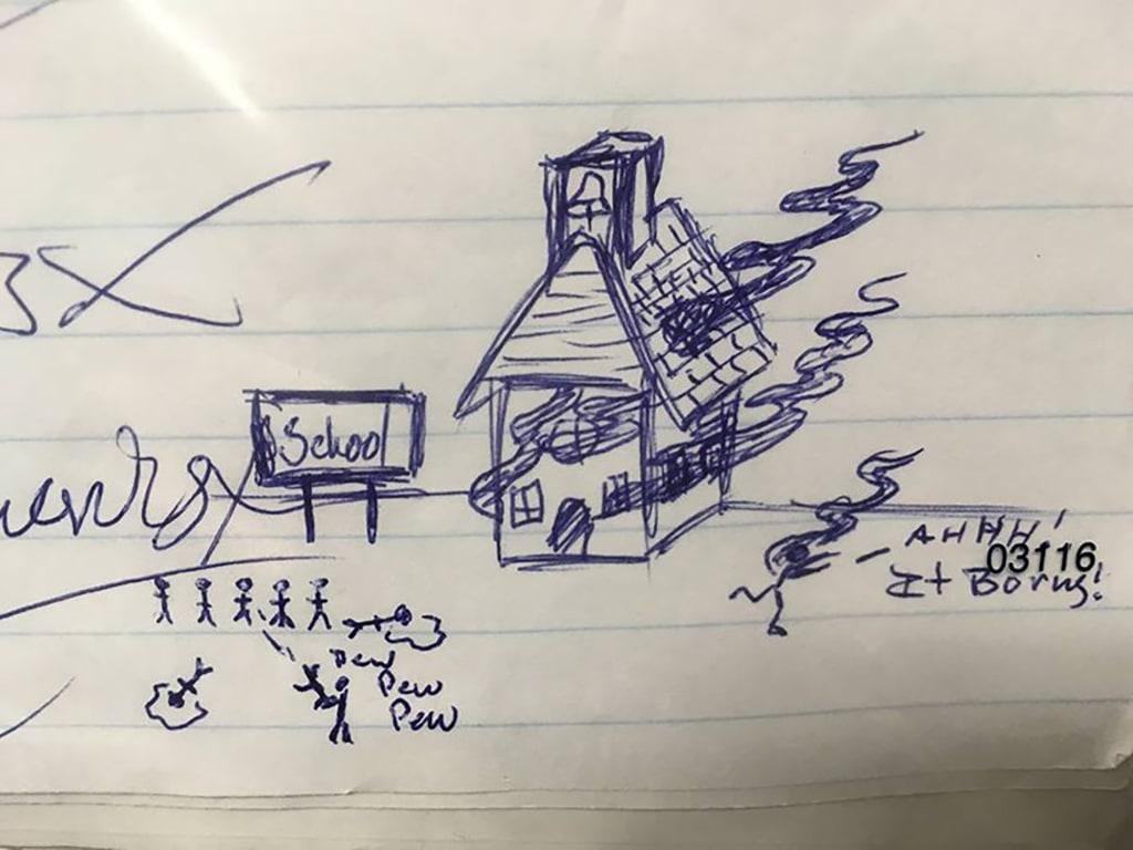 Image: Threatening homework drawing