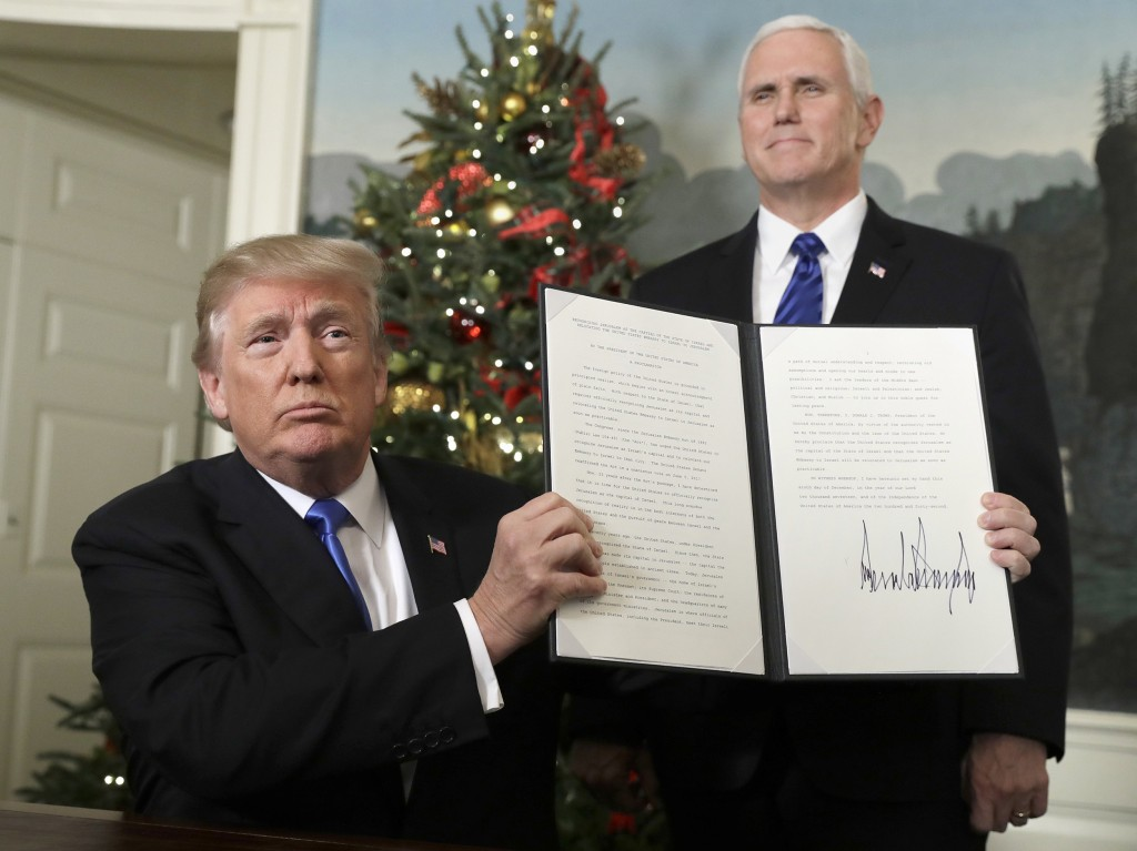 Image: President Donald Trump holds a proclamation to recognize Jerusalem as the capitol of Israel