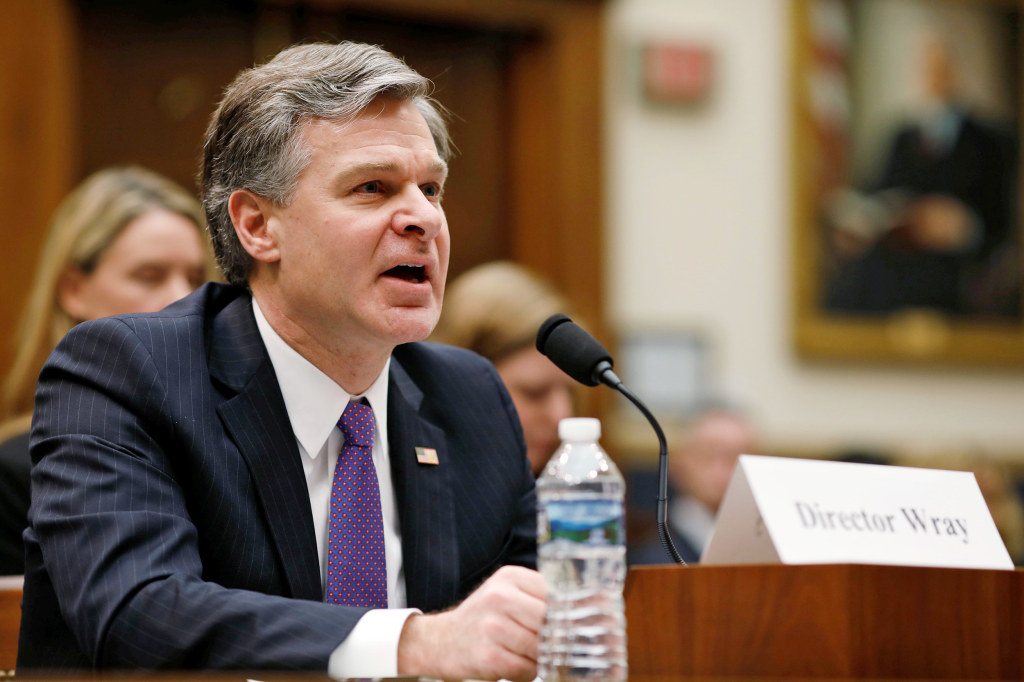 Image: FBI Director Christopher Wray testifies before a House Judiciary Committee hearing on Capitol Hill in Washington