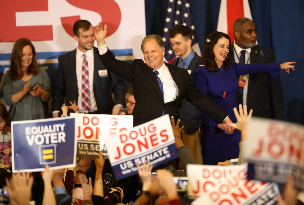Image: Democratic Senate Candidate Doug Jones Holds Election Night Watch Party In Birmingham
