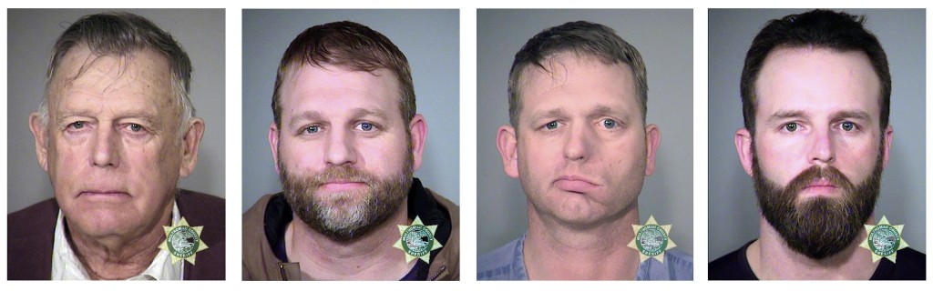 Image: Nevada rancher Cliven Bundy and his sons Ammon Bundy and Ryan Bundy and co-defendant Ryan Payne.