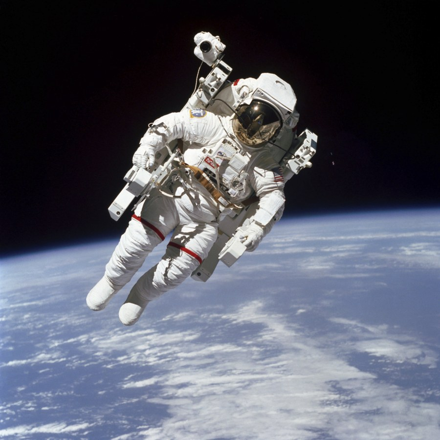 Image: This Feb. 7, 1984 photo made available by NASA shows astronaut Bruce McCandless II, participating in a spacewalk a few meters away from the cabin of the Earth-orbiting space shuttle Challenger, using a nitrogen-propelled Manned Maneuvering Unit.