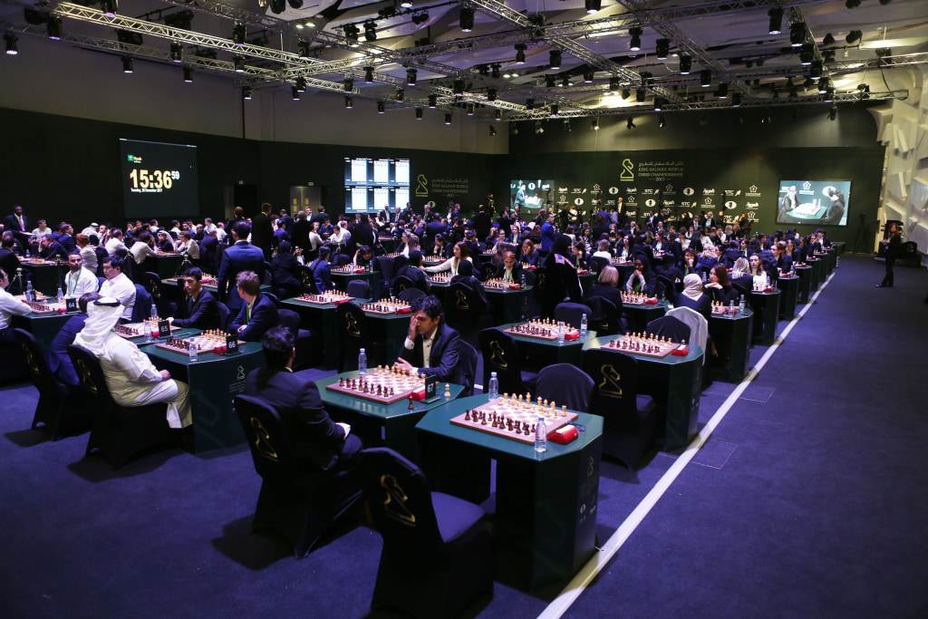 Image: Chess players compete at the King Salman Rapid and Blitz Chess Championships in Riyadh