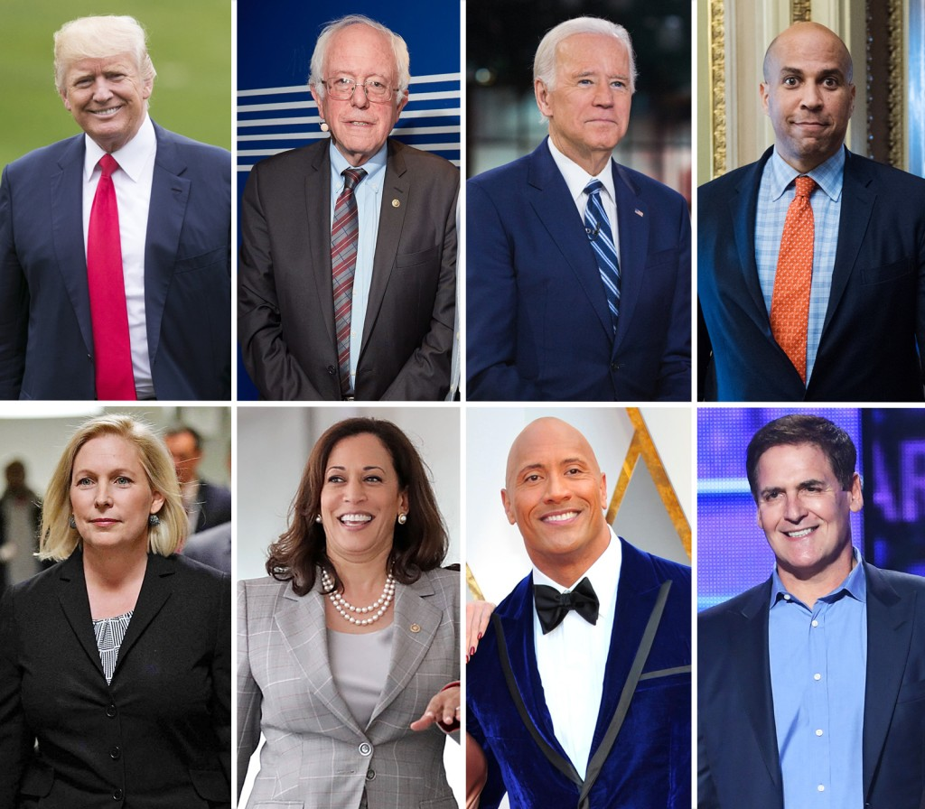 Image: Donald Trump, Bernie Sanders, Joe Biden, Cory Booker, Kristen Gilibrand, Kamala Harris, Dwayne Johnson and Mark Cuban.