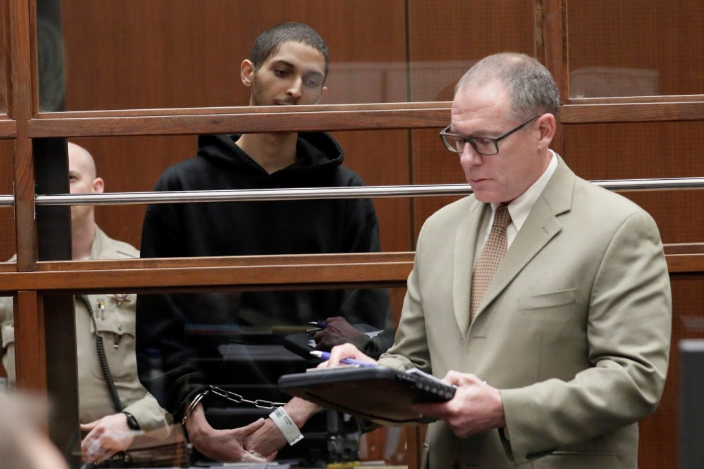 Image: Tyler Barriss, 25, appears in court for his extradition hearing with his lawyer Mearl Lottman in Los Angeles