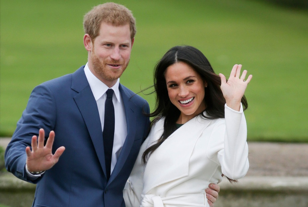 Image: Britain's Prince Harry and his fiance Meghan Markle