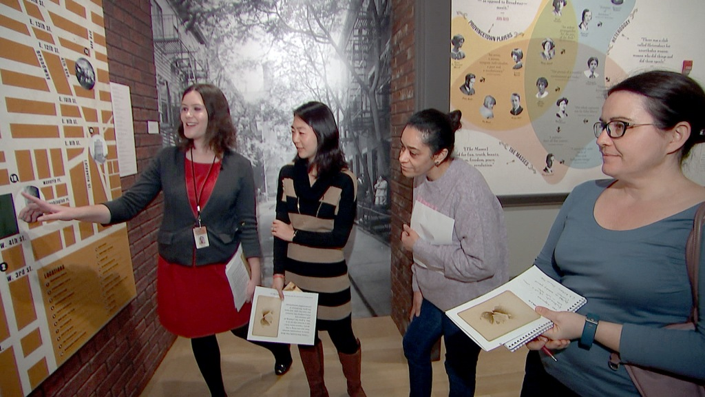 Image: Samantha Rijkers (instructor), Hiroko McVey (student) and other students at the New York Historical Society.