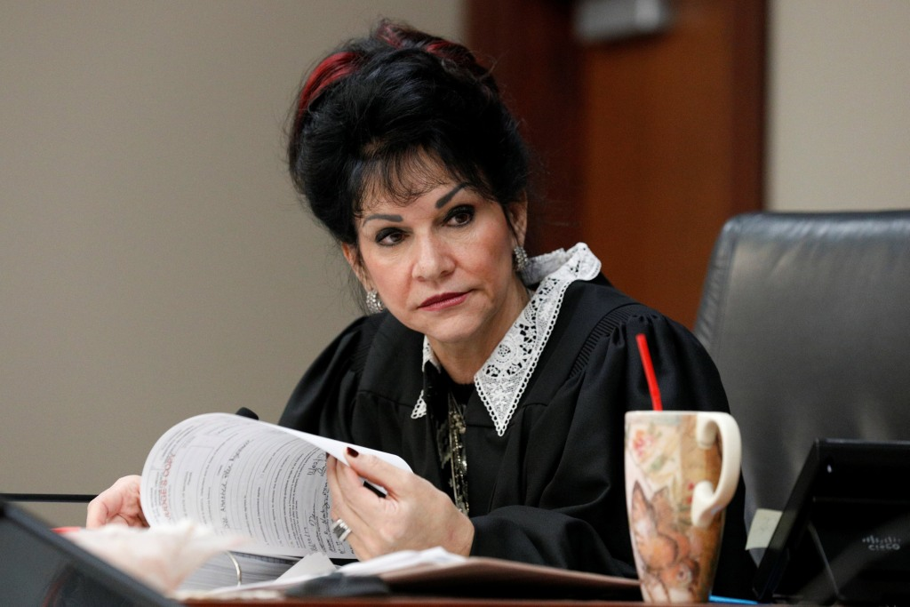 Image: Circuit Court Judge Rosemarie Aquilina addresses Larry Nassar, a former team USA Gymnastics doctor, who pleaded guilty in November 2017 to sexual assault charges, during his sentencing hearing in Lansing