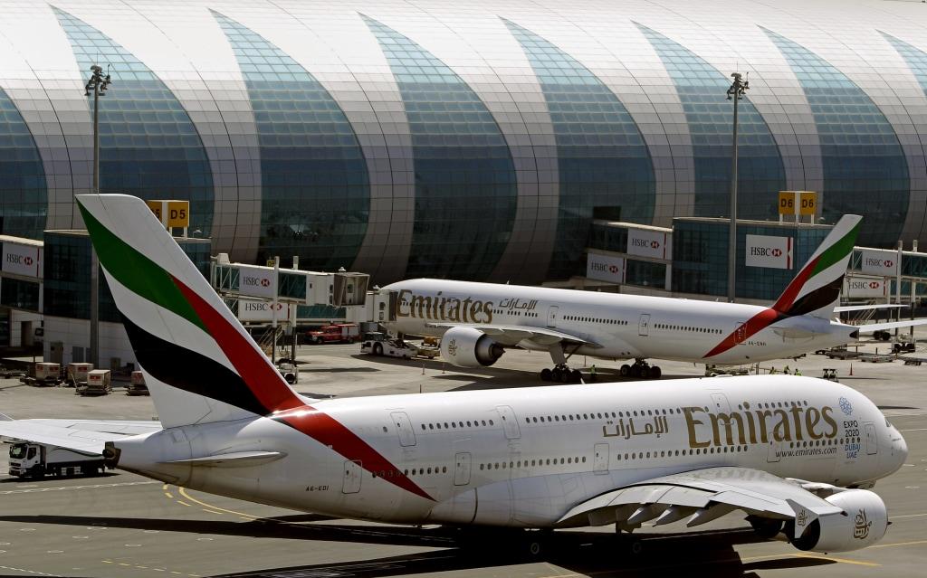 Image: Emirates passenger planes at Dubai airport in the United Arab Emirate