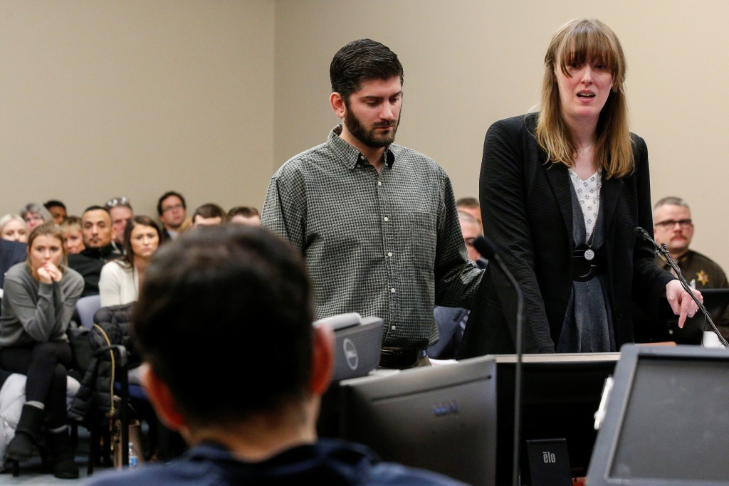 Image: Victim Jennifer Bedford speaks to Larry Nassar, a former team USA Gymnastics doctor who pleaded guilty in November 2017 to sexual assault charges, during his sentencing hearing in Lansing, Michigan