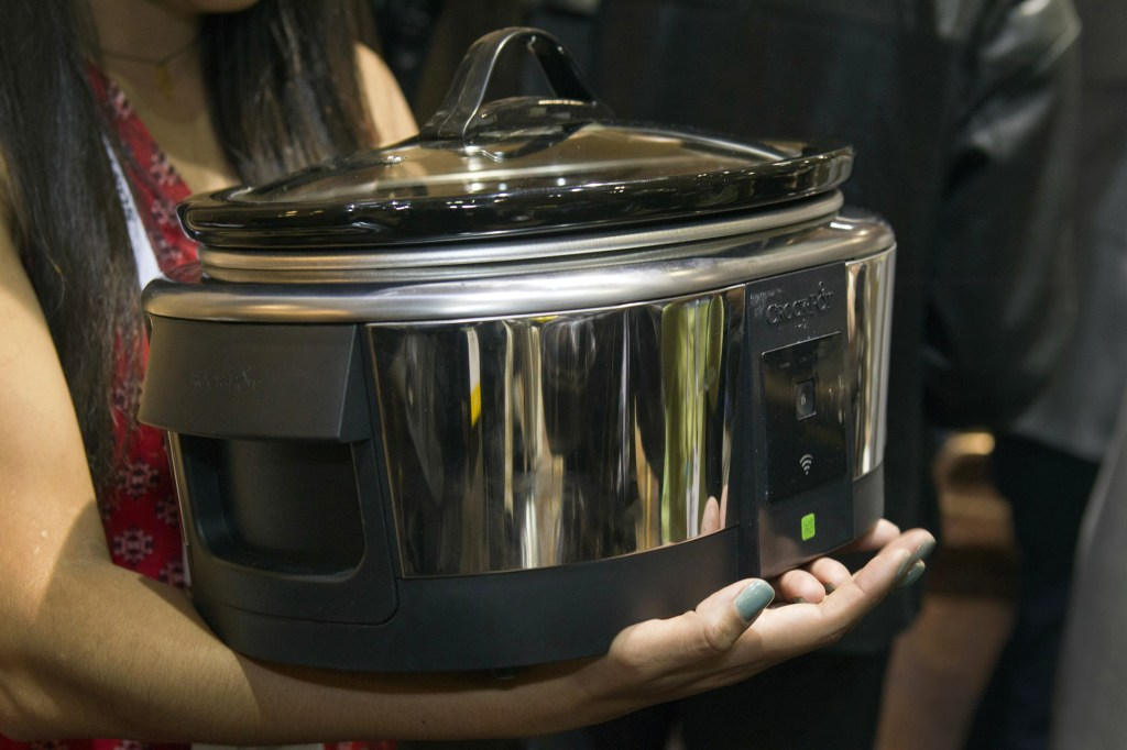 """A Belkin Crock-Pot WeMo Smart Slow Cooker is displayed during """"CES Unveiled,"""" a media preview event to the annual Consumer Electronics Show (CES), in Las Vegas"""