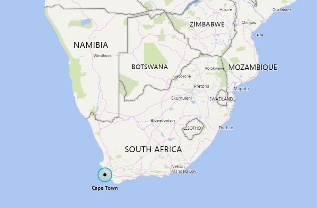 Image: Map showing Cape Town, South Africa