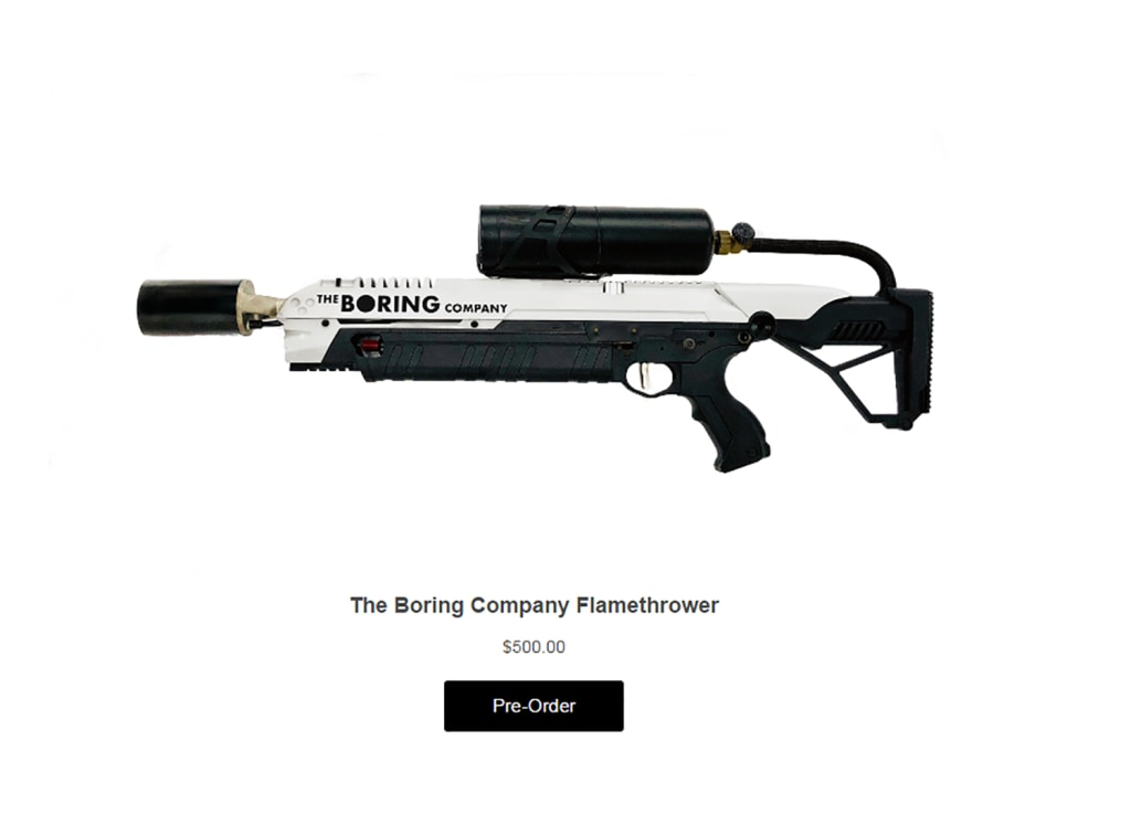 Image: The Boring Company's Flamethrower