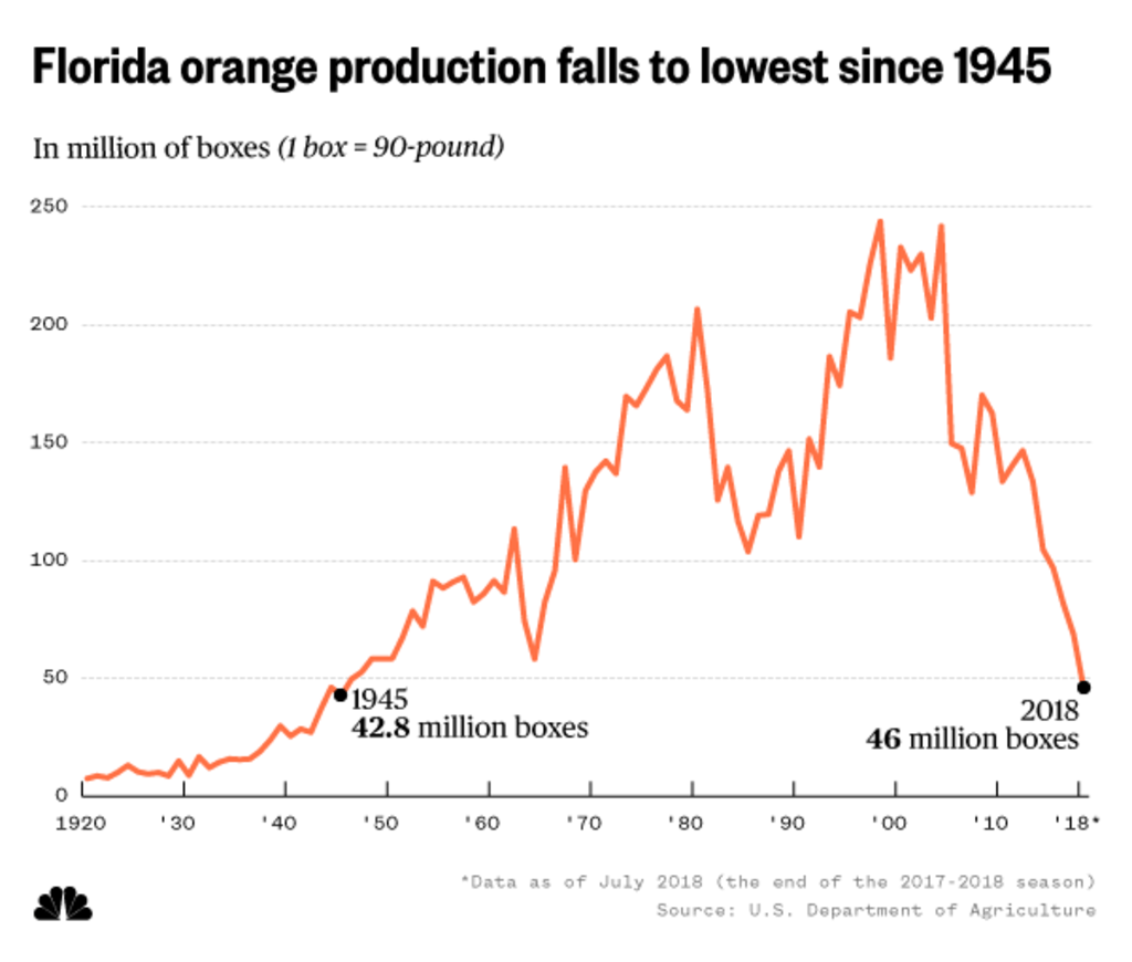 Florida orange production since 1920