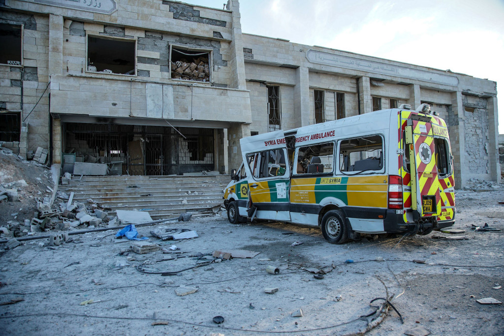 Image: A destroyed hospital in Kafr Nabl