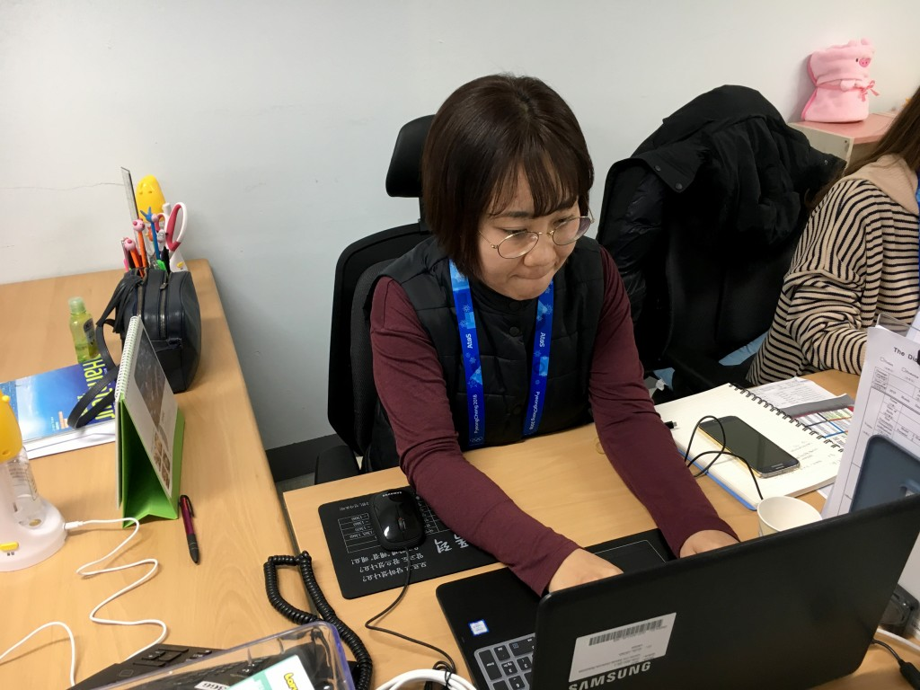 Jeon Won Hee, a counselor with Gender Equality Support Center, works in the Olympic Park to respond to sexual assault victims. Erik Ortiz / NBC News