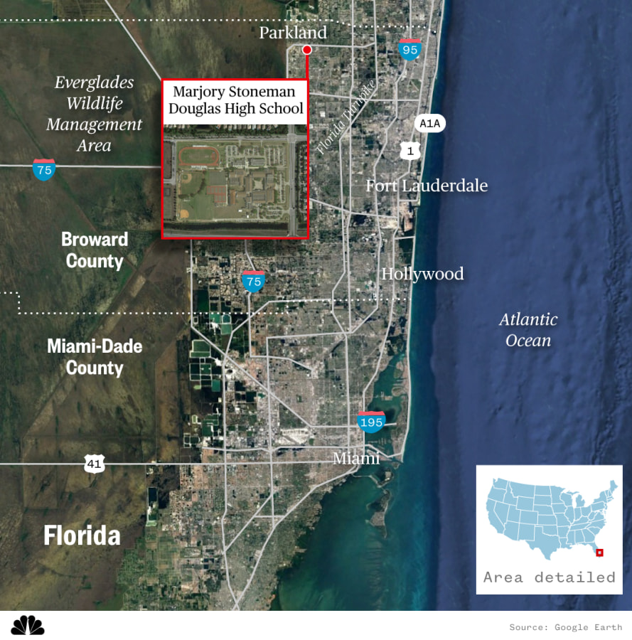 Map locating Marjory Stoneman Douglas High School in Parkland, Florida