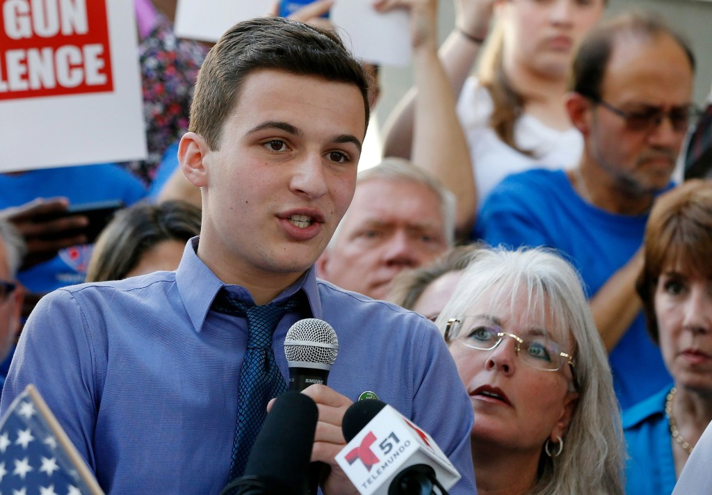 Image: Cameron Kasky speaks at a rally in Fort Lauderdale on Saturday.