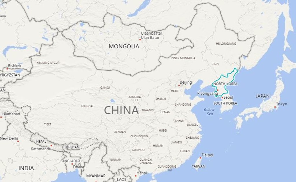 Image: Map showing North Korea and neighbors