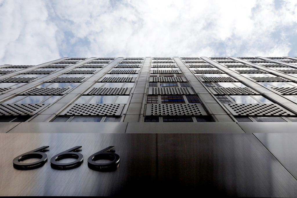 A building at 666 Fifth Avenue, owned by Kushner Companies, rises above the street in New York