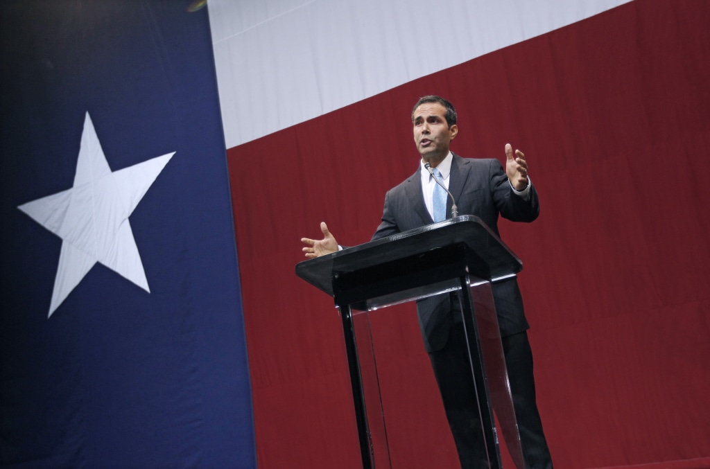 Image: George P. Bush speaks during the victory party