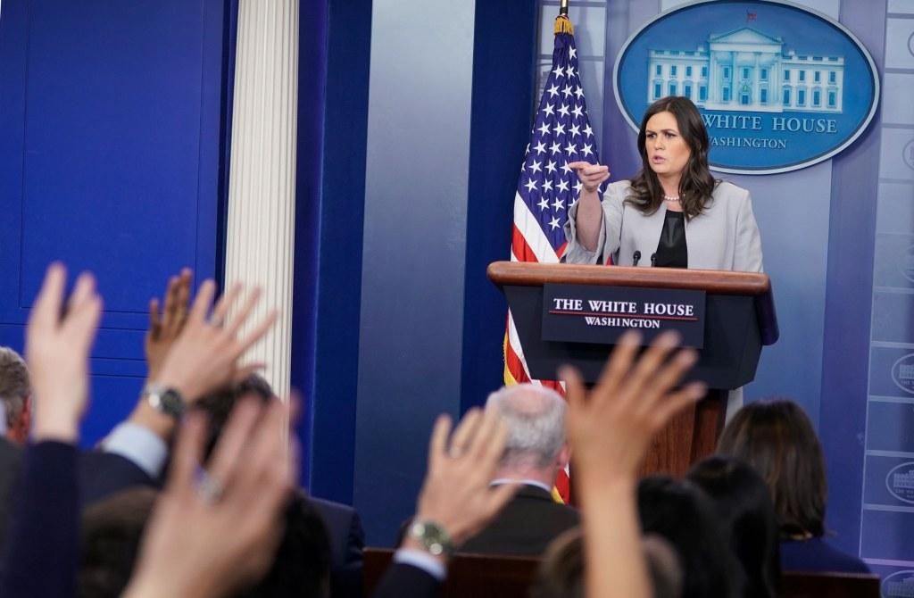 Image: White House Press Secretary Sarah Huckabee Sanders holds a news conference