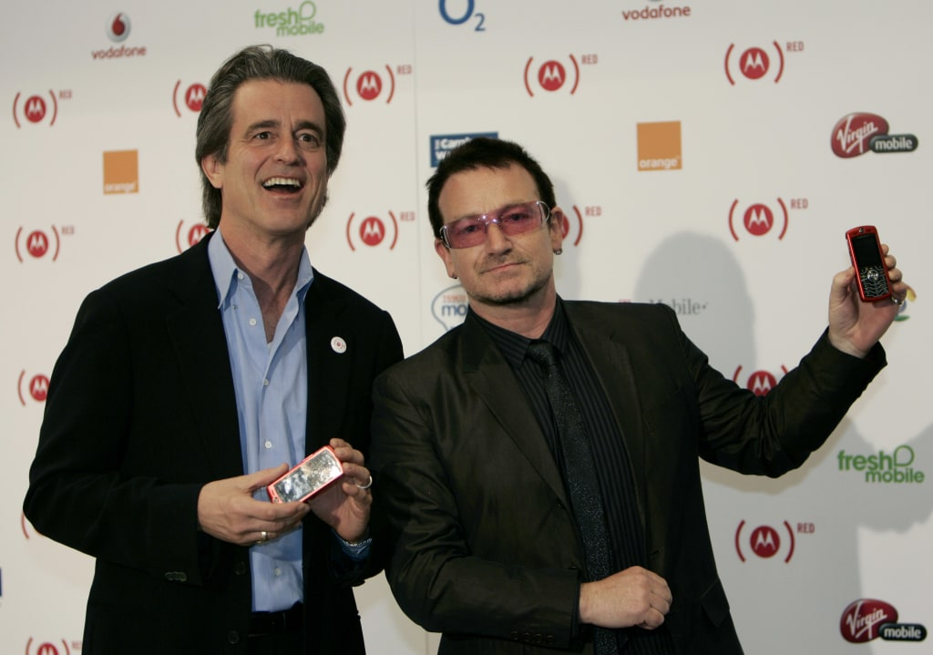 IMAGE: Bobby Shriver and Bono