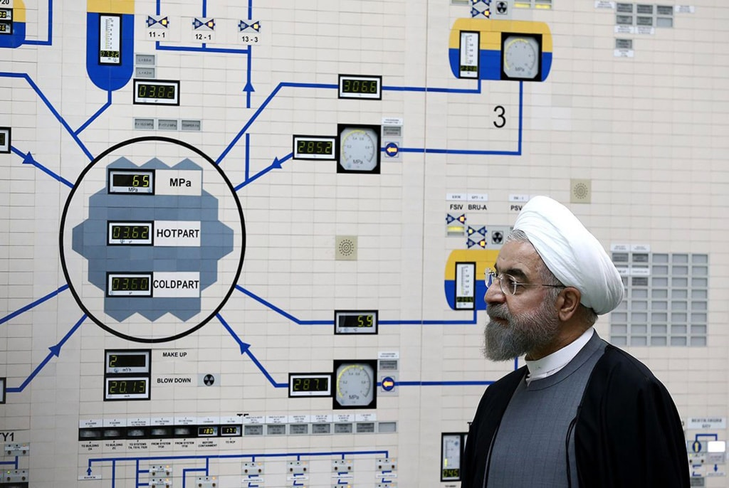 Image: Iranian President Hassan Rouhani visits the control room of the Bushehr nuclear power plant