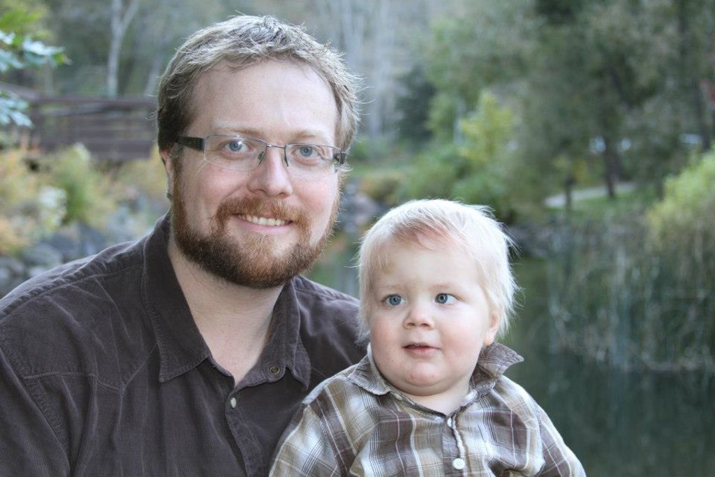 Ryan Green with his son Joel, who is now four years old.