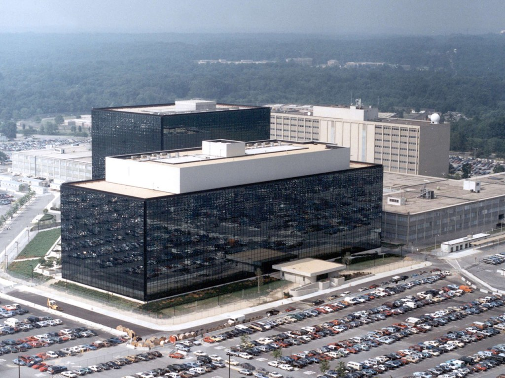 An undated aerial handout photo shows the National Security Agency (NSA) headquarters building in Fort Meade, Maryland.  The U.S. National Security Ag...