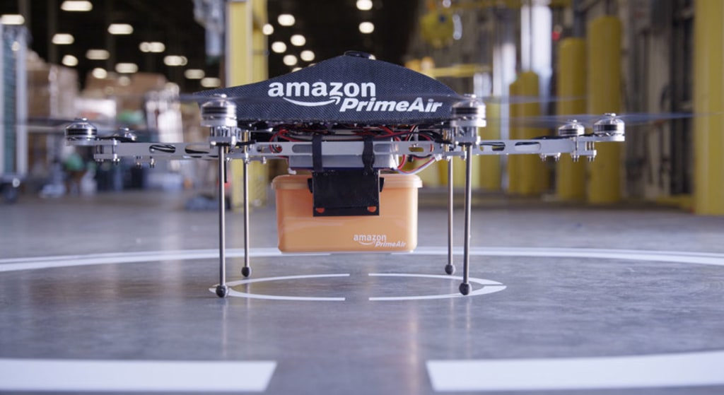 """""""PrimeAir"""" is the name of Amazon's concept drone delivery fleet."""