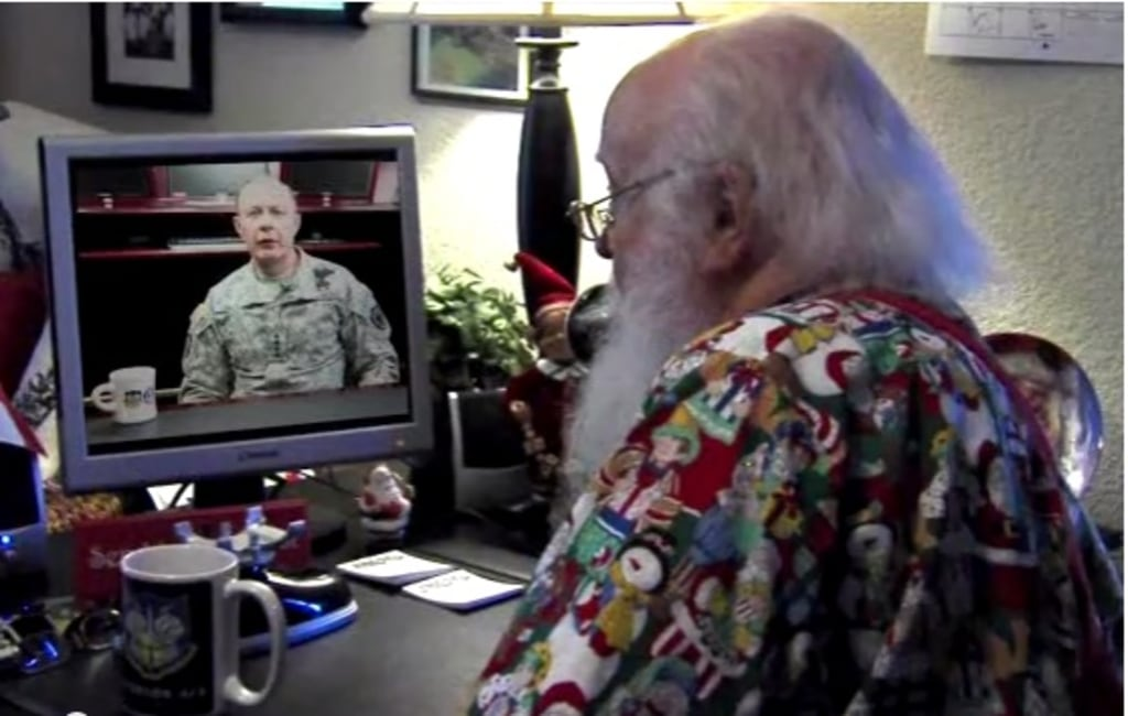 Santa checks in with NORAD prior to his 2012 flight.