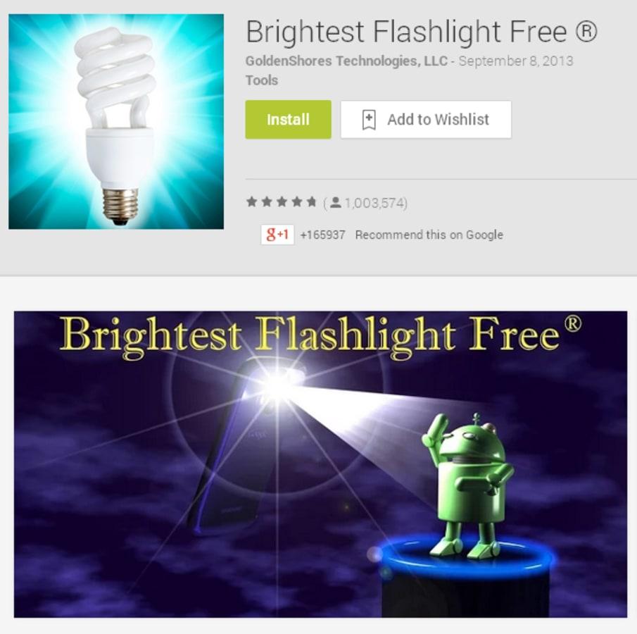 "IMAGE: Goldenshores Technologies LLC's ""Brightest Flashlight Free"" app"