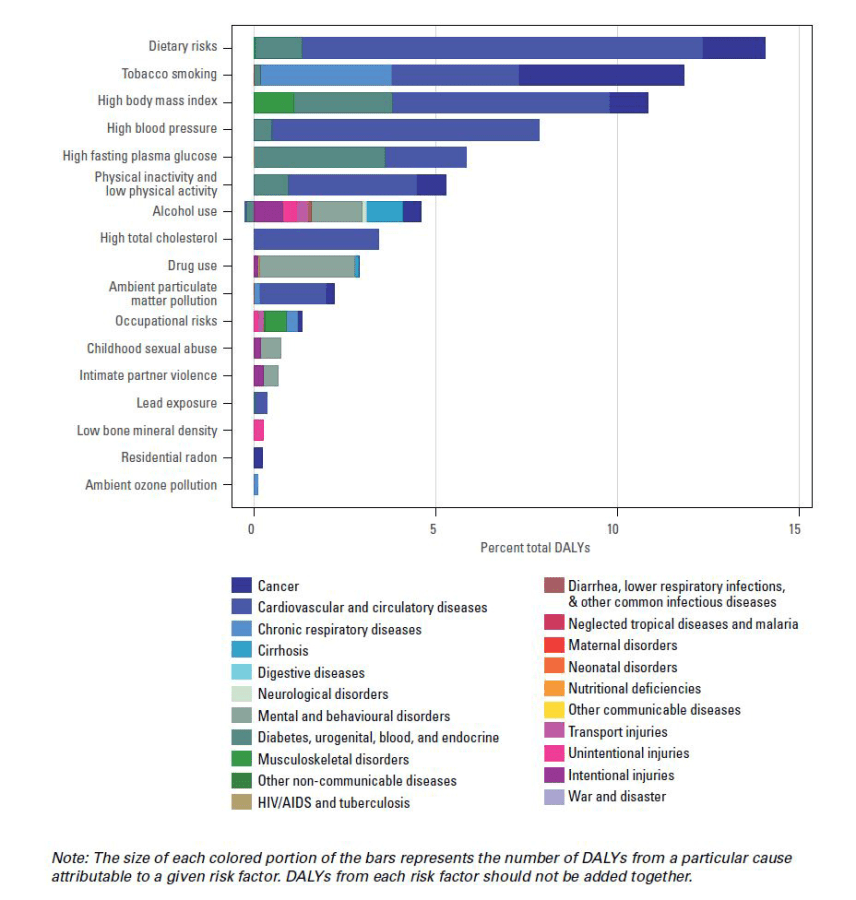 This graphic shows the underlying causes of disability and death in the US