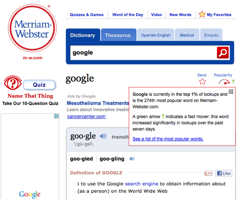"Merriam-Webster's online dictionary definition of ""Google."""
