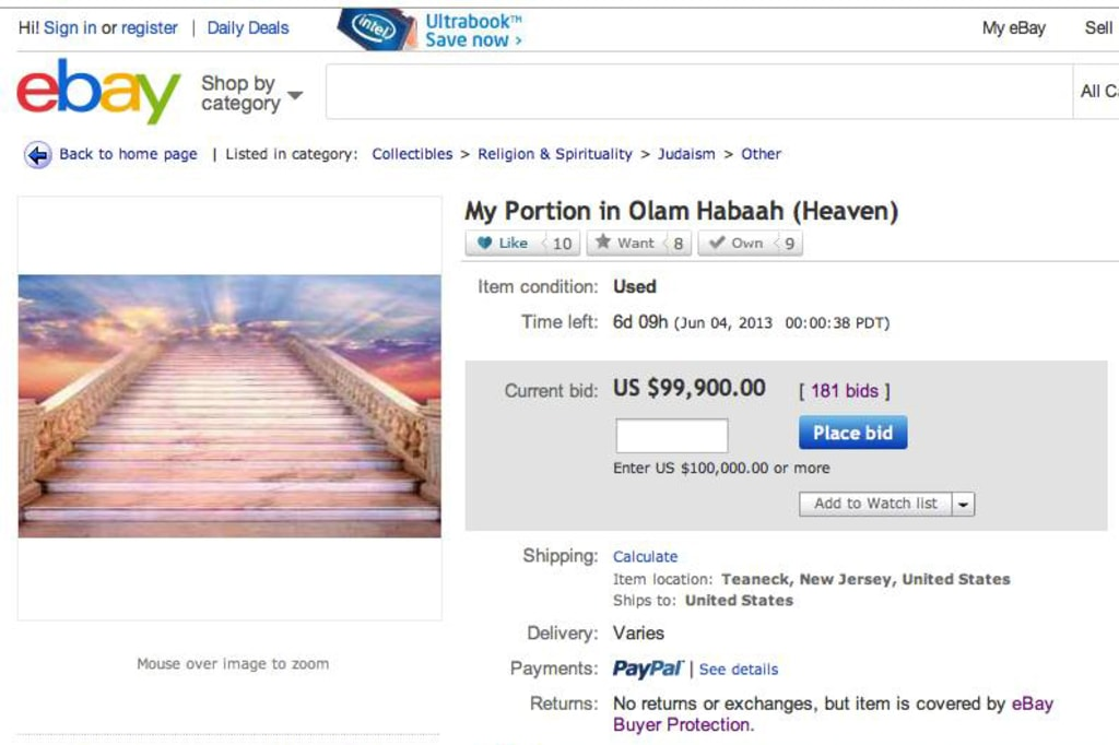 The eBay heaven offering, before it was taken down by eBay.