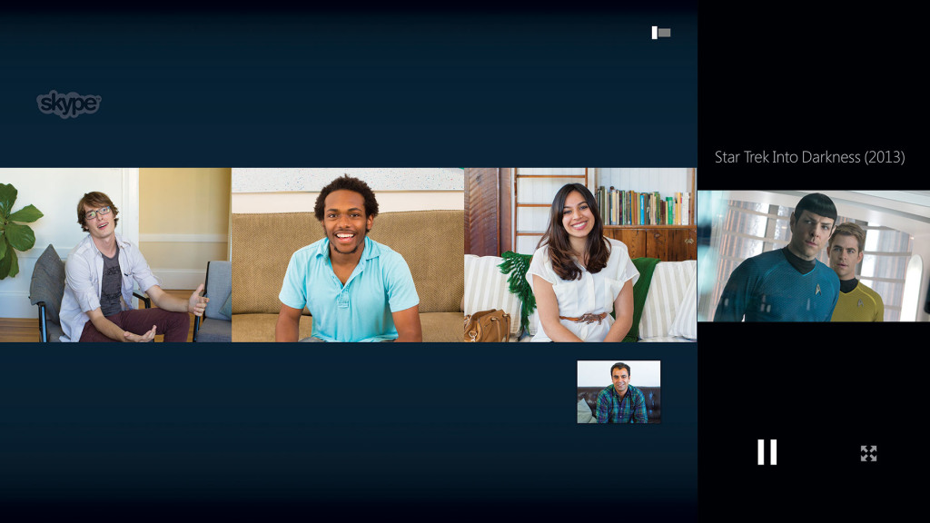 Xbox One - You can also Skype with a group of people while watching a movie together.