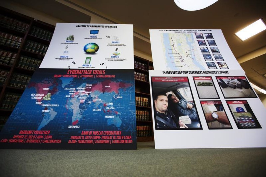 Charts showing information related to alleged members belonging to a New York-based cell of a global cybercriminal organization
