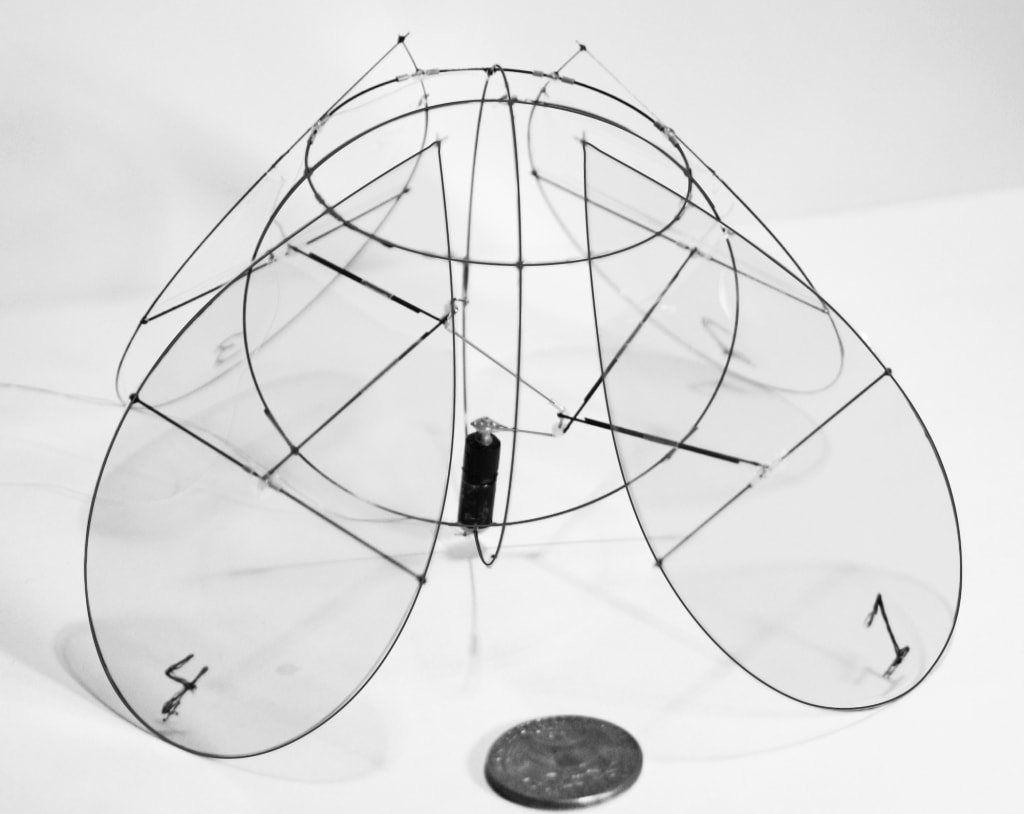 The four-winged robot built at NYU mimics the movements of a jellyfish, to efficiently stay aloft.