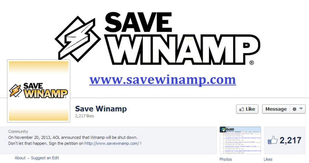 The Facebook page for the Save Winamp campaign.