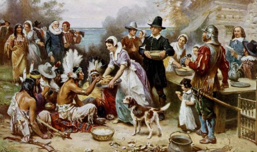 3ccb36c4 An artistic depiction of the first Thanksgiving feast.The story of how  modern holiday came to be is filled with myth, commercialization, regional  influences ...
