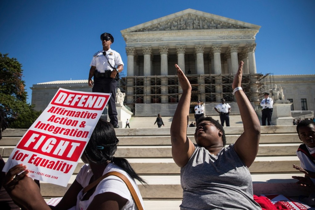 supreme court takes on affirmative action in michigan ban case  students protest in support of affirmative action outside the supreme court during the hearing of schuette v coalition to defend affirmative action on